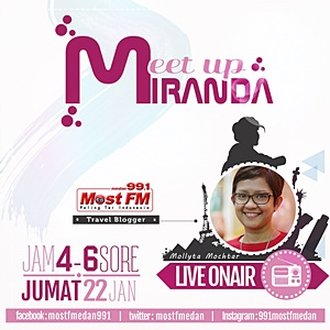 Sebagai narasumber acara Meet Up Miranda di Radio Most FM Medan