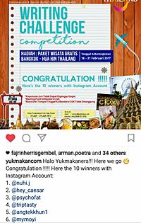 Pemenang kompetisi menulis oleh Yukmakan.com dan Wisata Thailand