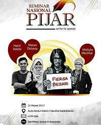 Menjadi pemateri acara Write to Speak Seminar Nasional PIJAR 2017