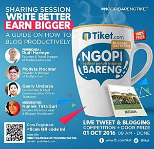 Menjadi pemateri #NgopiBarengTiket di Medan 2016