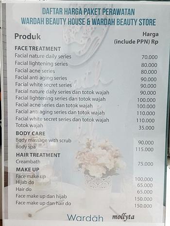 Daftar harga paket perawatan Wardah Beauty House Medan