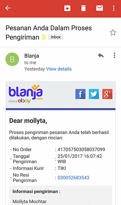 Notifikasi pengiriman barang dari Blanja.com