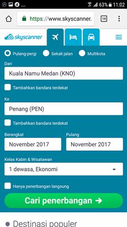 Mencari tiket di Skyscanner