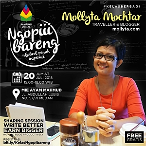 Mollyta blogger Medan jadi pembicara di Kelas Berbagi