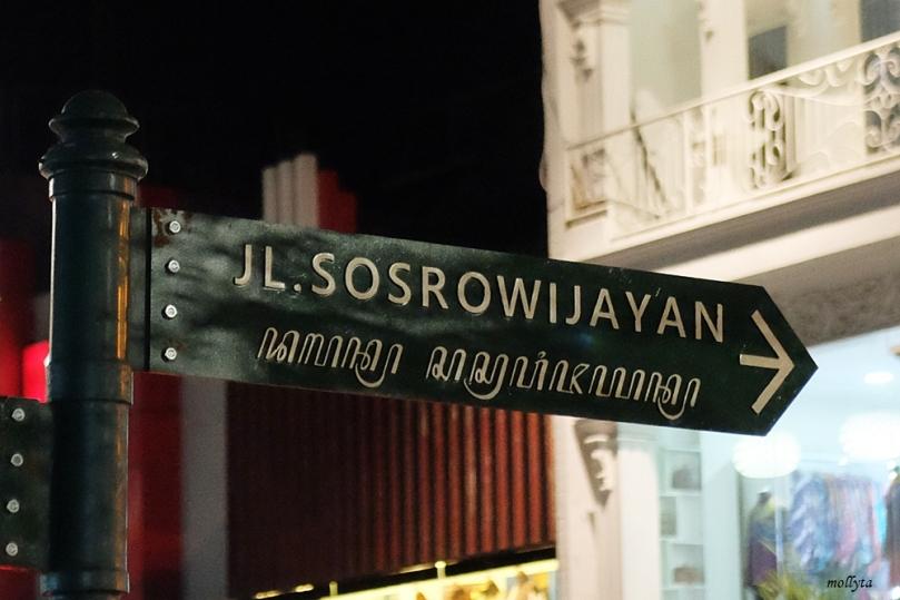 Plang Jalan Sosrowijayan di Yogyakarta