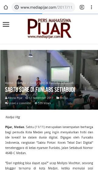 Blogger Medan Mollyta Mochtar pembicara di Funlabs