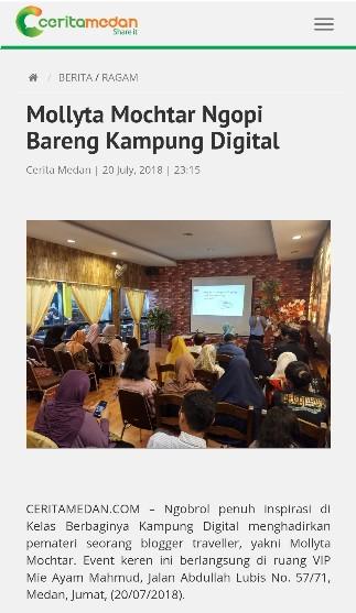 Blogger Medan Mollyta Mochtar pembicara di Kampung Digital