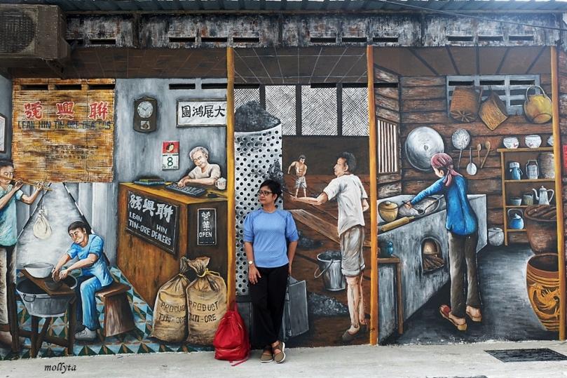 Lukisan seni mural di Ipoh Malysia