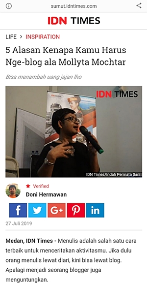 Alasan Harus Nge-blog ala Mollyta Mochtar di IDN Times Sumut