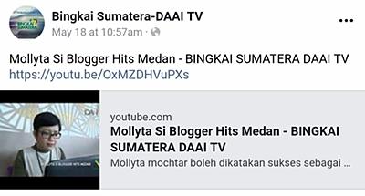 Mollyta Mochtar Blogger Medan Hits di Bingkai Sumatera DAAI TV