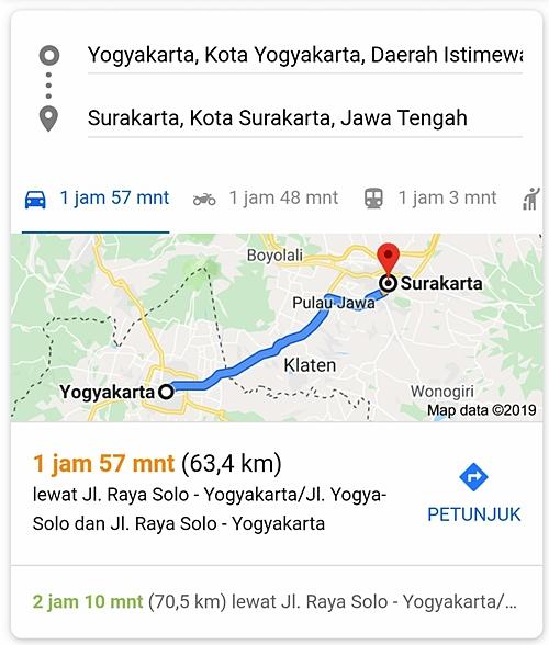 Peta perjalanan Jogja ke Solo