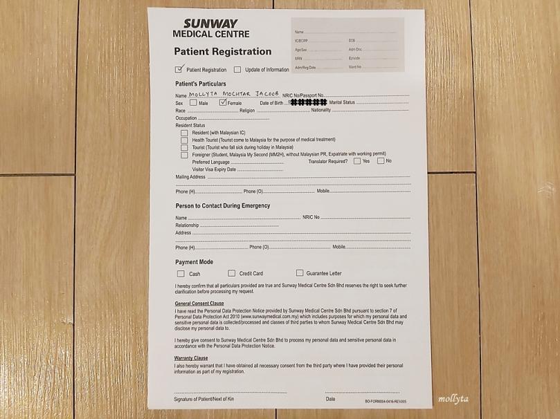 Registrasi pasien di Sunway Medical Centre