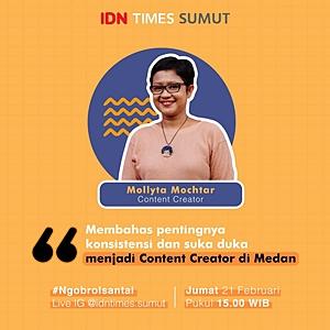 Mollyta Mochtar narasumber dan Content Creator di acara Ngobrol Santai IDN Times Sumut