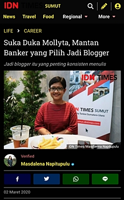Mollyta Mochtar berbagi kiat ngeblog di IDN Times Sumut