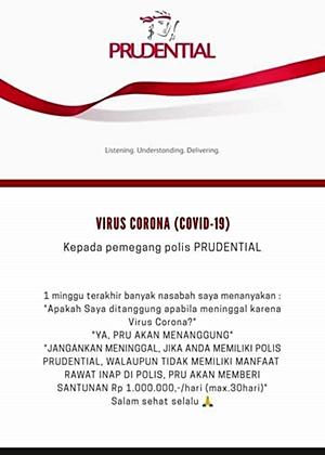 Prudential menanggung perawatan COVID-19
