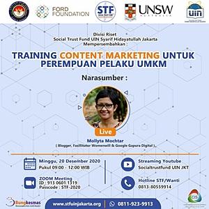 Pelatihan Content Marketing untuk UMKM oleh Mollyta Mochtar