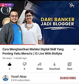 Mollyta Mochtar narasumber di Youtube Yosef Abas