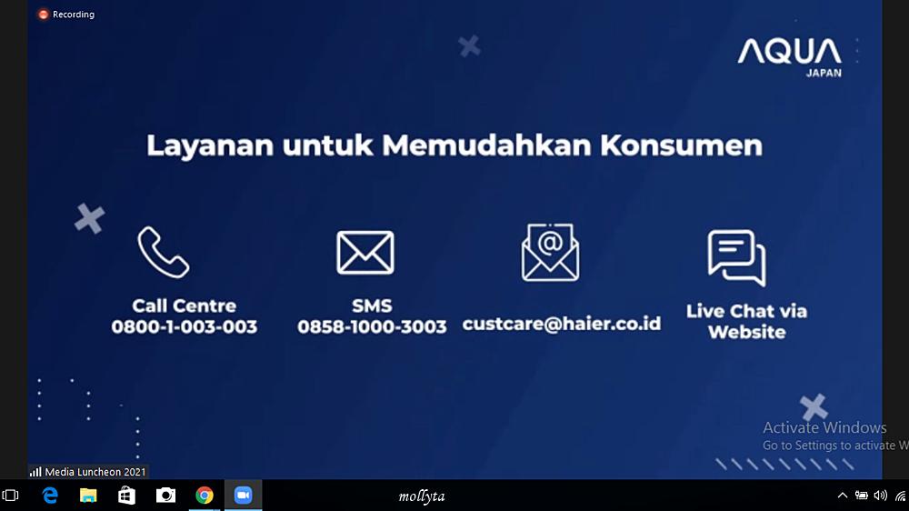 Layanan service AQUA Japan untuk konsumen